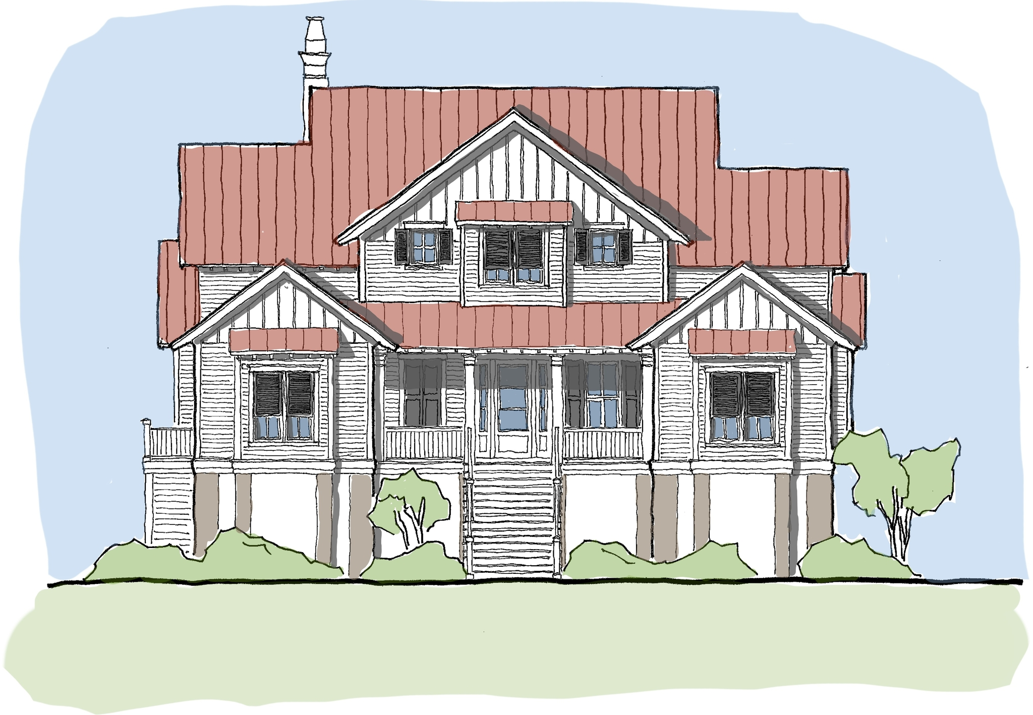 View Oriented House Plans with Porches Tide Collection #1: Wateree Tide House Plan 355