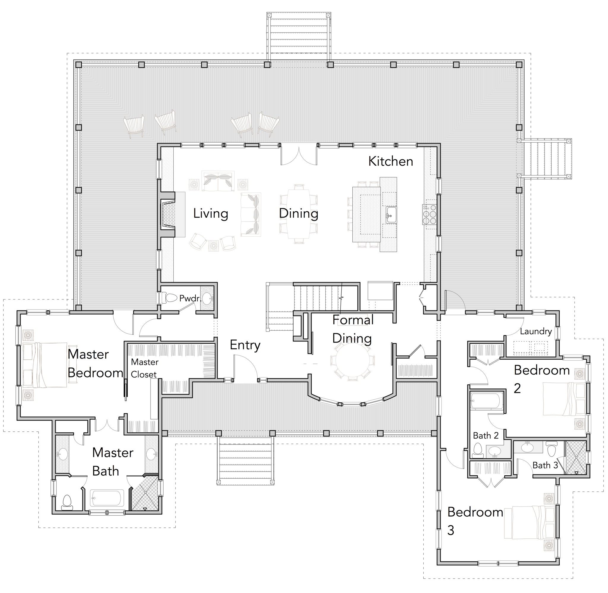 Large open floor plans with wrap around porches rest for Coastal house floor plans